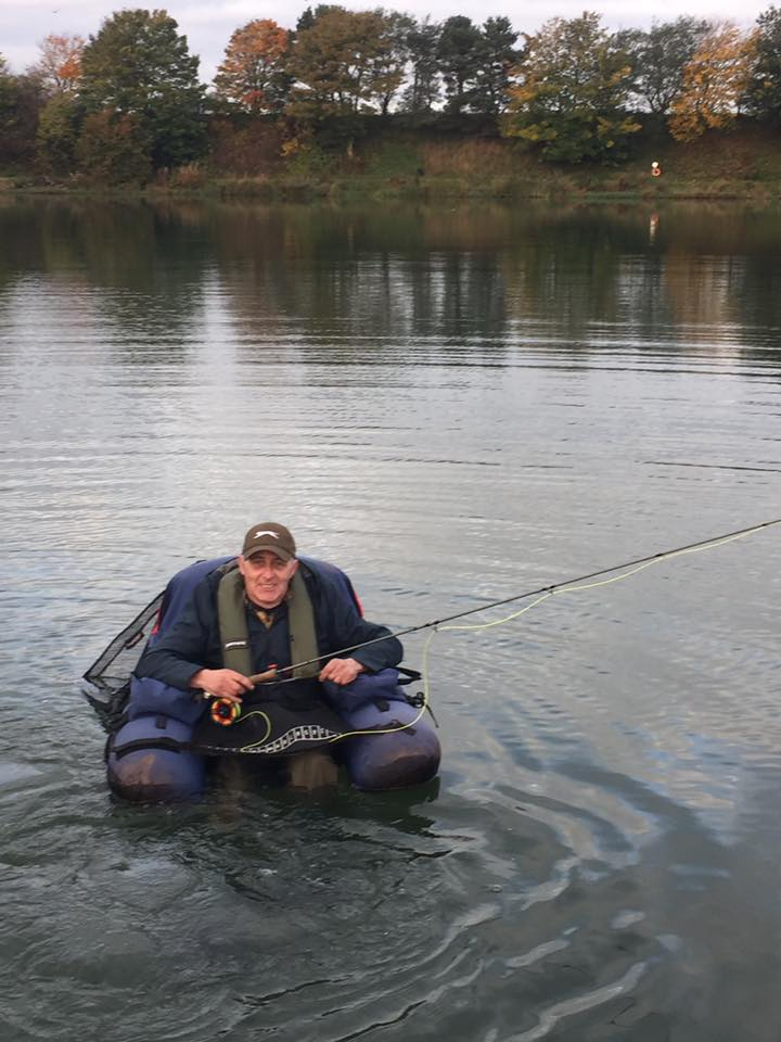 Kevin Marshall Float Tube Fishing at Kinross Trout Fishery Scotland
