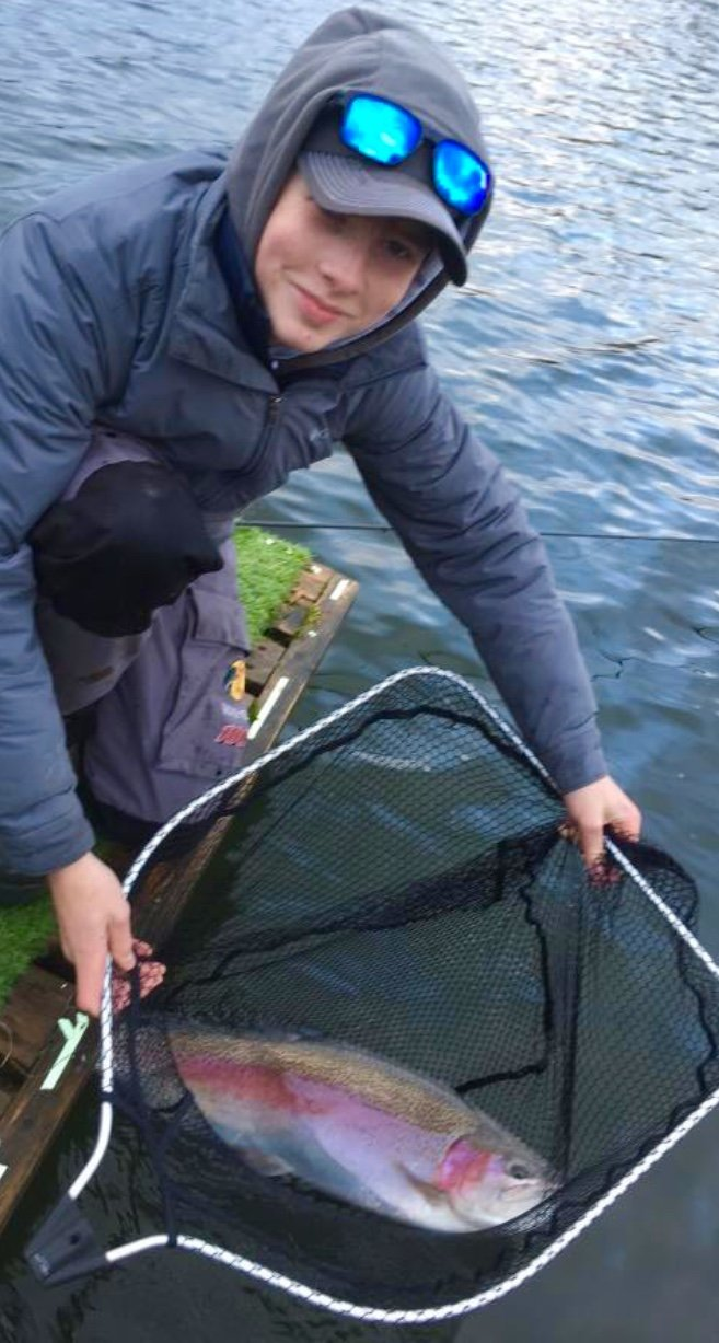 connor wales 13lb trout on baxter water kinross trout fishery