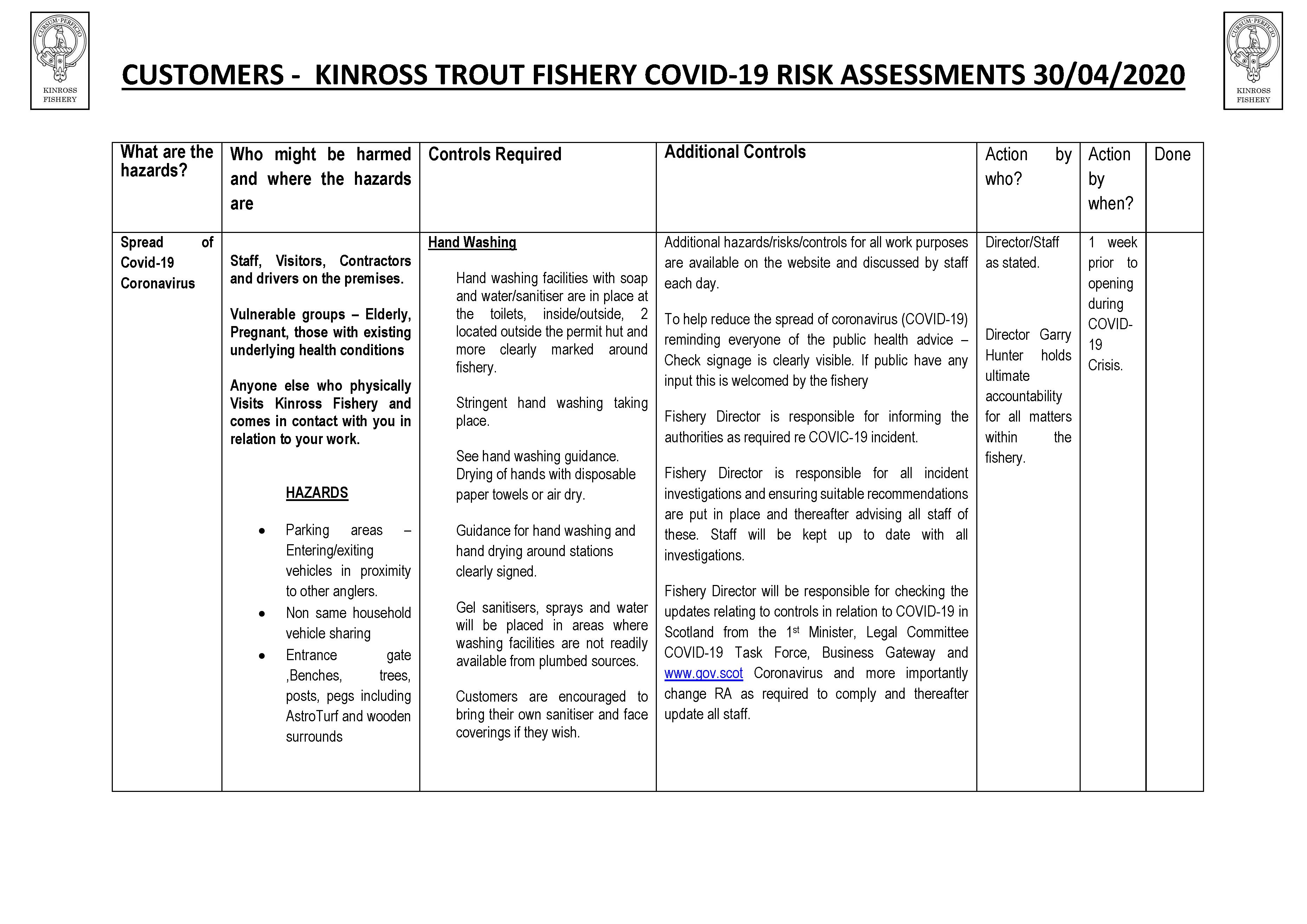 customer risk assessment Kinross trout fishery